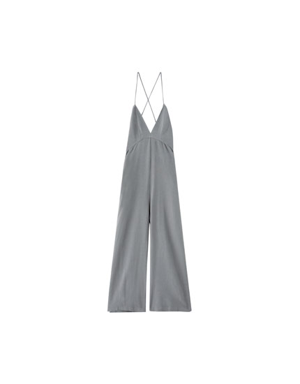 Long jumpsuit with criss-cross back