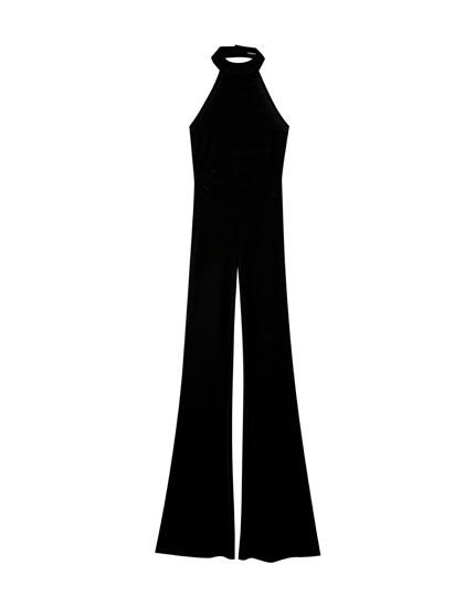 Long black halter-neck jumpsuit