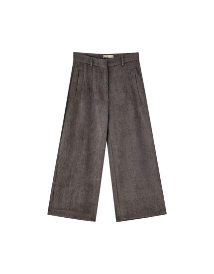 Pantaloni din catifea cord culottes