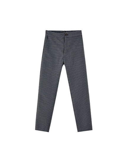 Skinny-Hose mit Hahnentrittmuster
