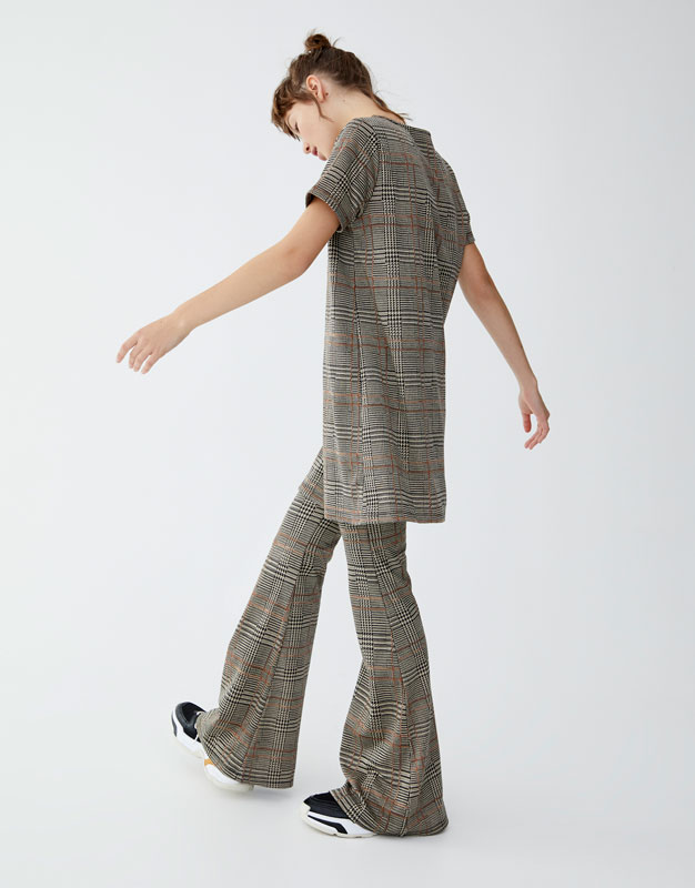 Check Flared Trousers by Pull & Bear