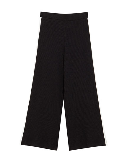 Ribbed trousers with side stripes