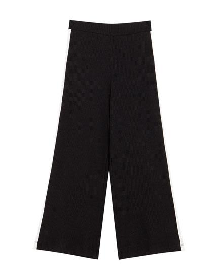 Pantalon côtelé bande latérale