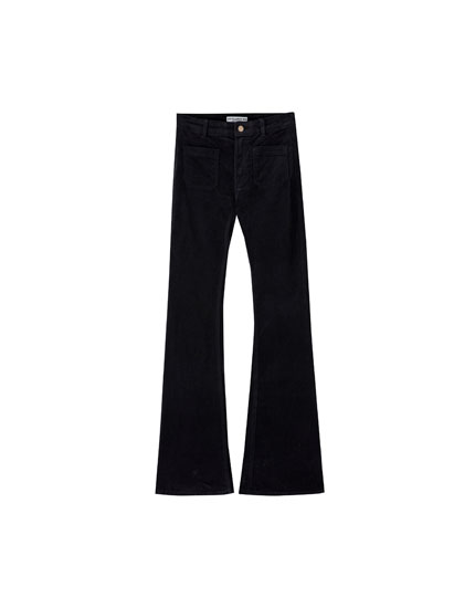 Flared corduroy trousers with pockets