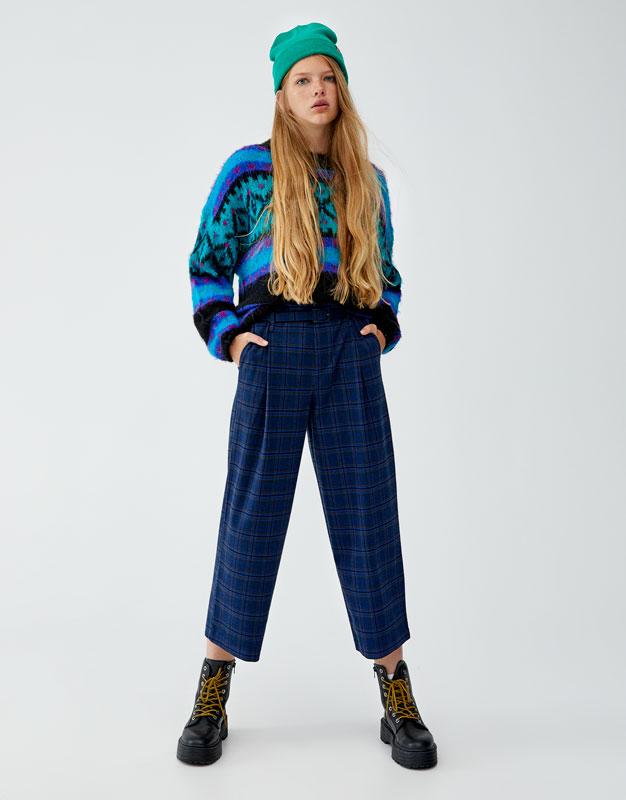 Kareli Lacivert Paperbag Pantolon by Pull & Bear