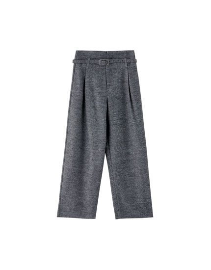 Grey paper bag trousers with belt