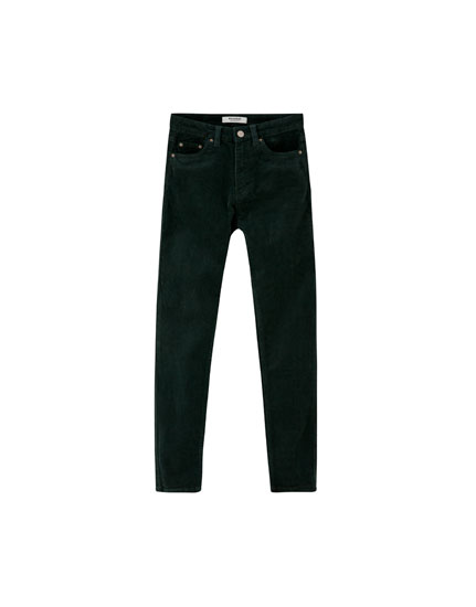 Slim fit, high waist corduroy trousers