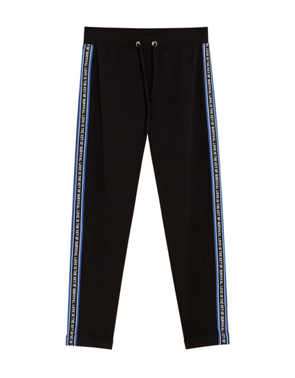Black jogging trousers with side taping