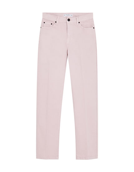 Coloured straight-cut trousers