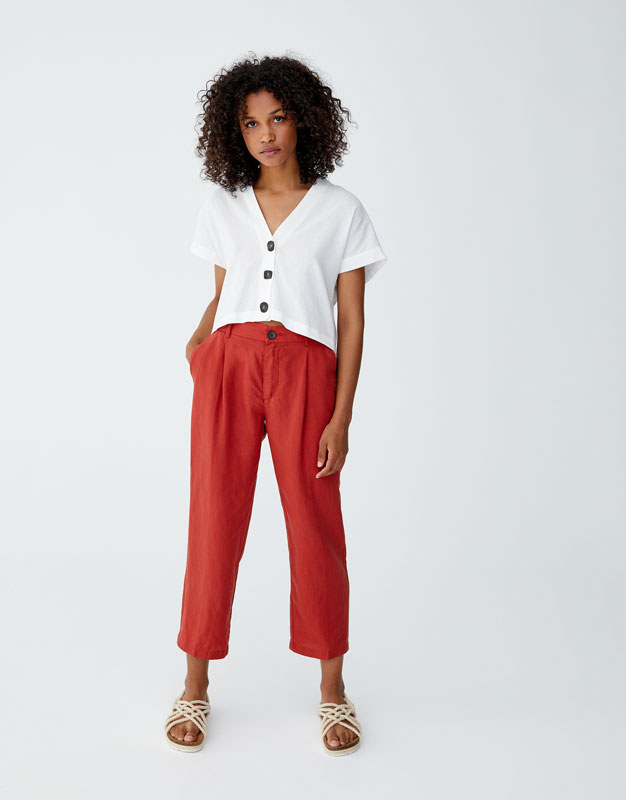 Linen Trousers With Button by Pull & Bear