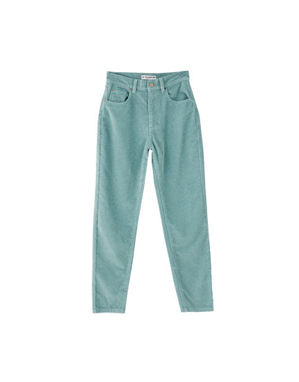 Mom fit corduroy trousers in various colours