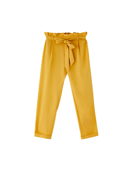 Paperbag trousers with tie belt
