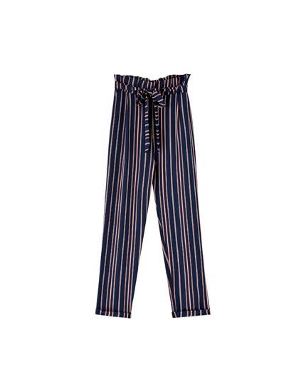 Pantaloni paperbag în dungi