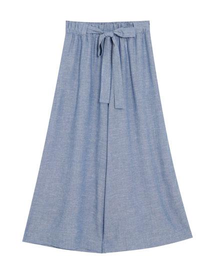 Παντελόνι culotte από λινό ριγέ