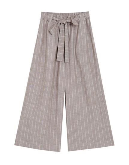 Spodnie culotte z lnu w paski