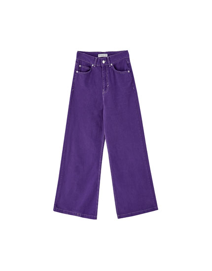 Purple wide-leg jeans