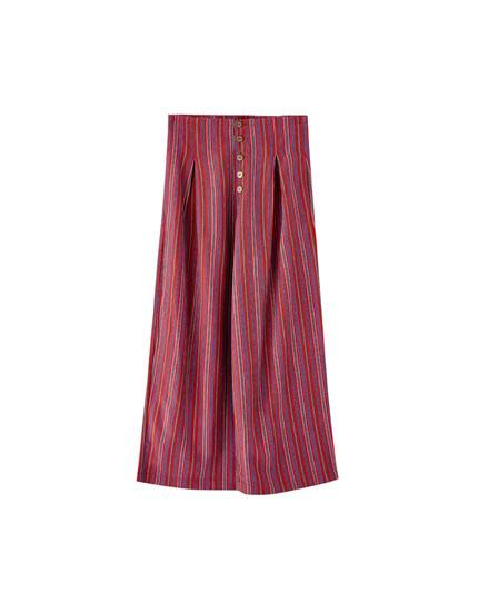 Pantalón culotte multirrayas