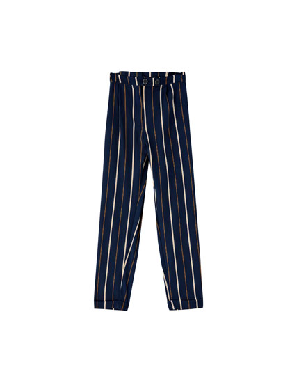 Navy blue striped paperbag trousers