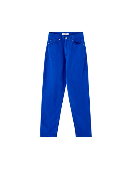 Elektrik mavisi mom fit jean
