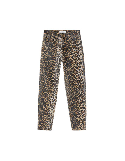 Leopar desenli mom fit jean
