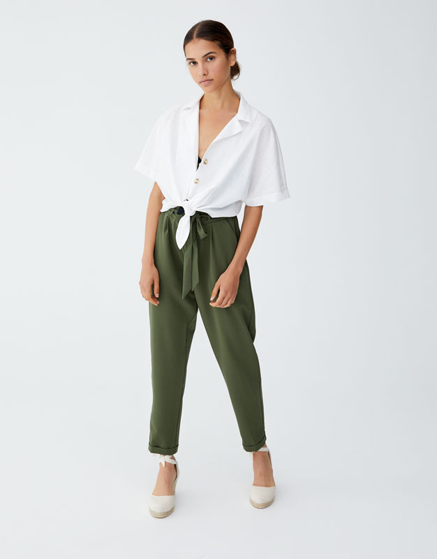 Khaki Paperbag Trousers by Pull & Bear