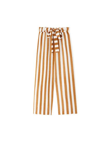 Pantalón culotte rayas lazada