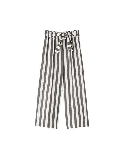 Striped culotte trousers with bow