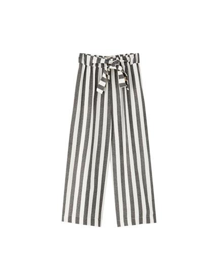Spodnie culotte w paski z wiązaniem