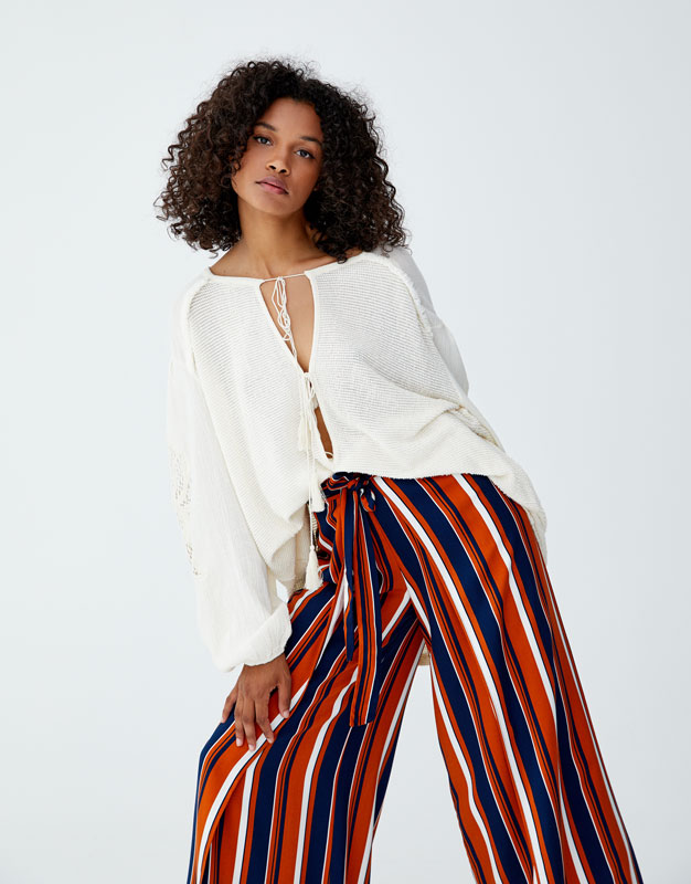 striped-trousers-with-side-slit by pull-&-bear