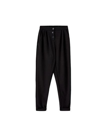 Pantaloni tailoring cu nasturi