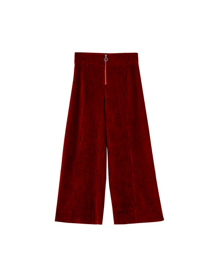 Corduroy culottes with zip