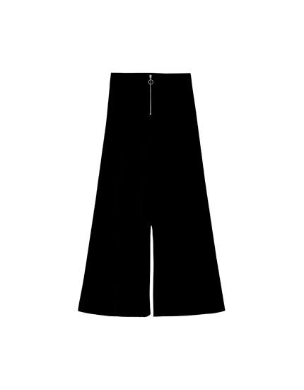 Pantalón culotte pana cremallera