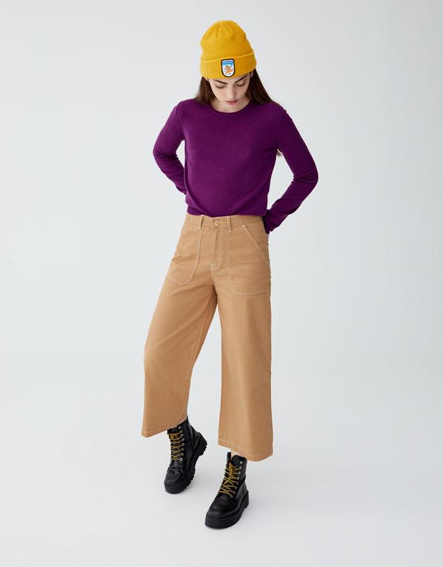 Pantalon évasé Velours Côtelé by Pull & Bear