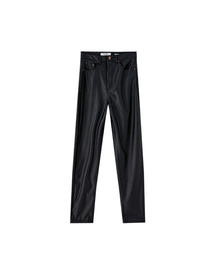 Faux leather mom fit trousers