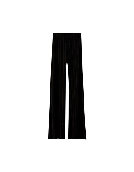 Ribbed palazzo trousers