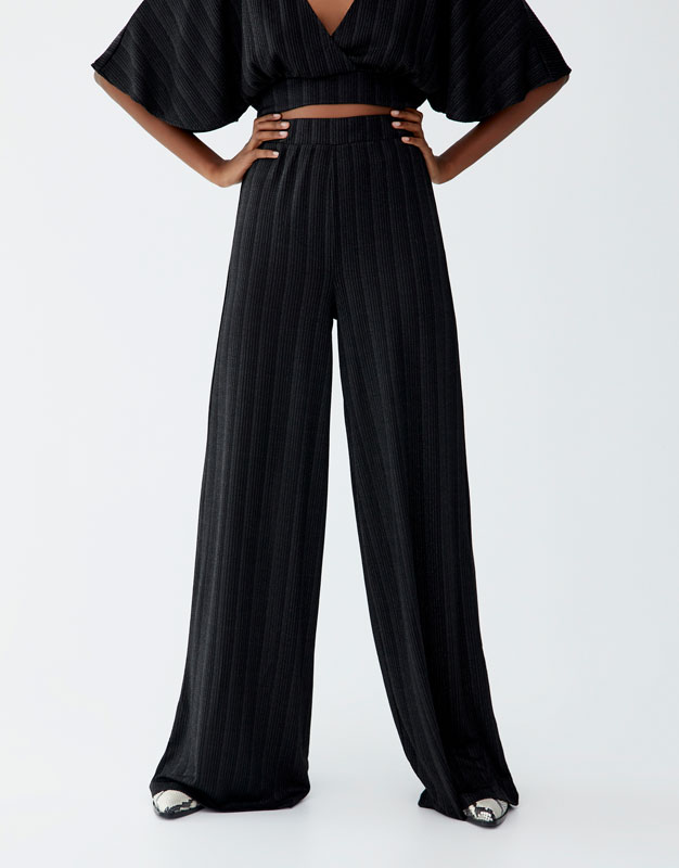 Ribbed Palazzo Trousers by Pull & Bear