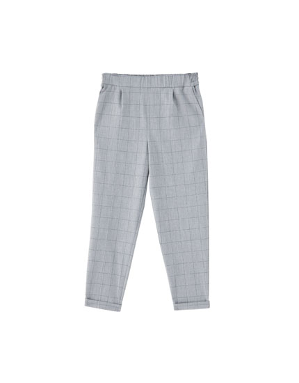 Pantalon style jogging à carreaux