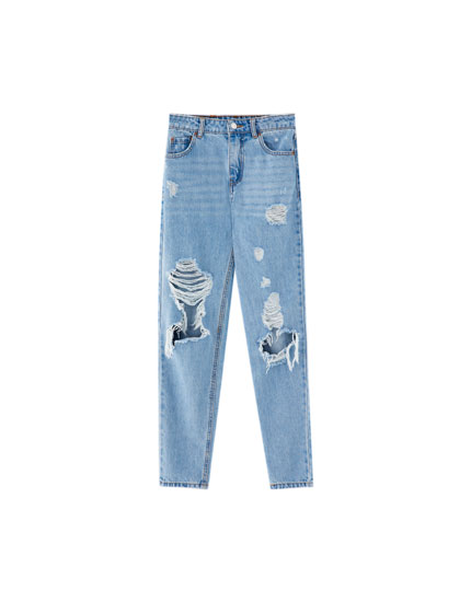 Mom-Fit-Jeans mit Schlitzen