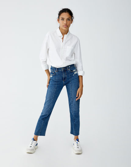 Jeans with double waistband and front seam