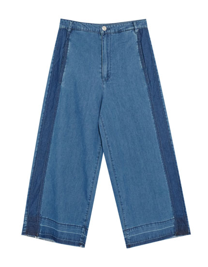 Culotte jeans with seams