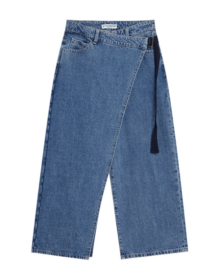 Crossover denim culottes