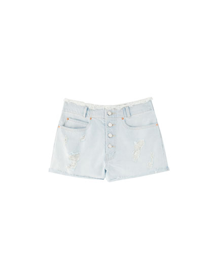 Mom fit denim short met zichtbare knopen