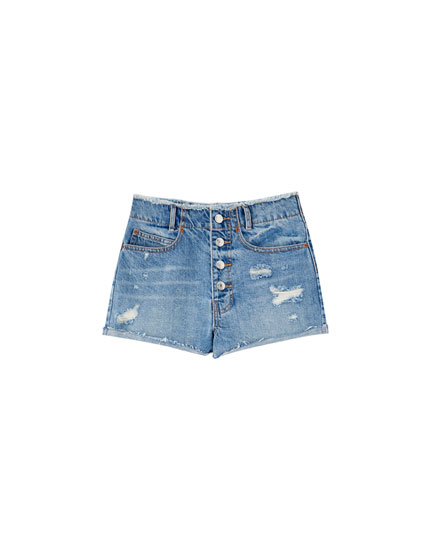 Mom fit denim shorts with visible buttons