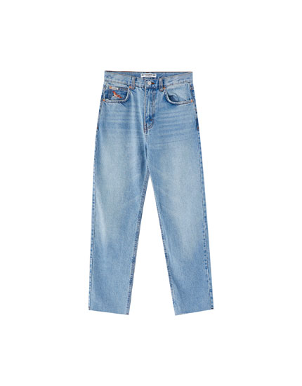 Jeans mom fit tiro alto