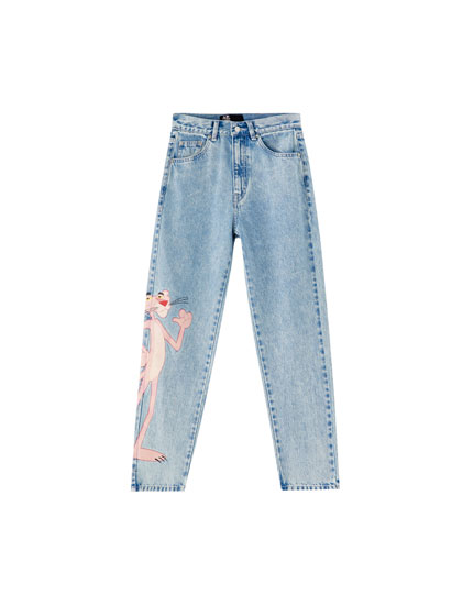 Mom-Fit-Jeans Rosaroter Panther