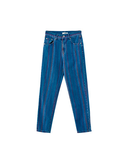 Çizgili mom fit jean