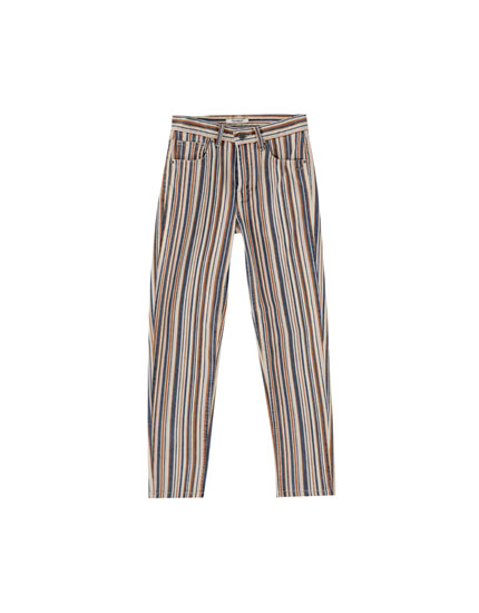Vertical multistripe print trousers
