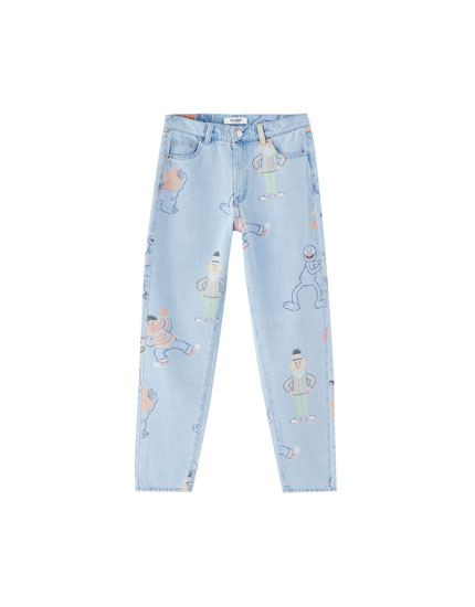 Mom-Fit-Jeans Sesame Street