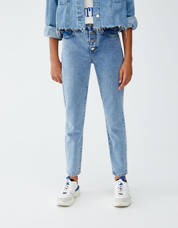 Jeans Mom Fit Com Botões Por Fora by Pull & Bear