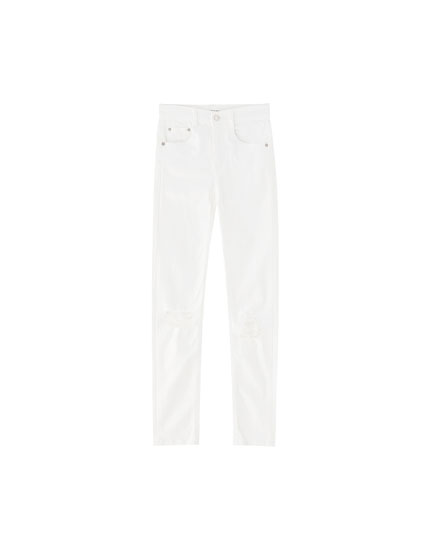Jeans push up blanco